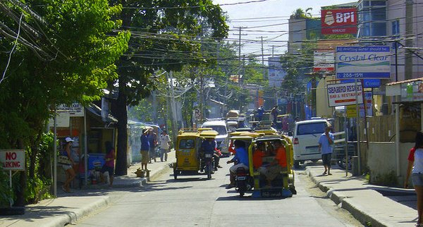 road and traffic on Boracay Island- Philippines