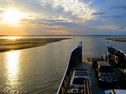Fraser Island Ferry at sunrise