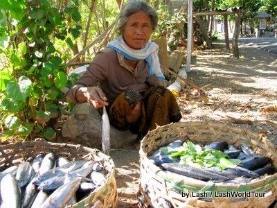 fisherman's mother selling mackerel- Amed- Bali