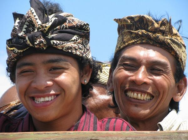 BAlinese men dressed for ceremony