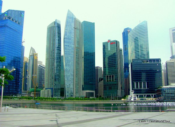 Singapore- new financial district skyscrapers at harbor