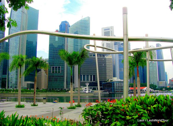 all about singapore- Singapore Financial District from Marina Bay Sands Park