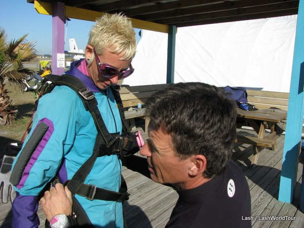 SKy diving - getting strapped in... Yes!