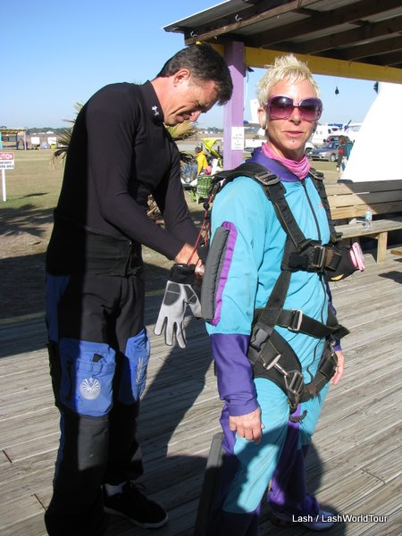 Lash getting ready to sky dive