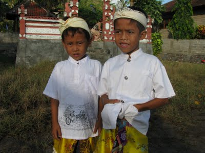 Balinese boys- Hindu temple ceremony- Bali