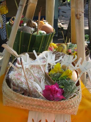 Balinese Hindu Ceremony offerings