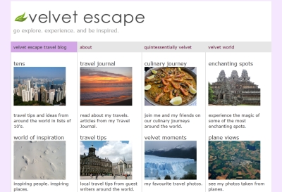 travel interview- Velvet Escape home page