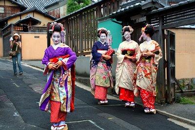 Maiko- apprentice Geisha- in one of Kyoto's Geisha Districts