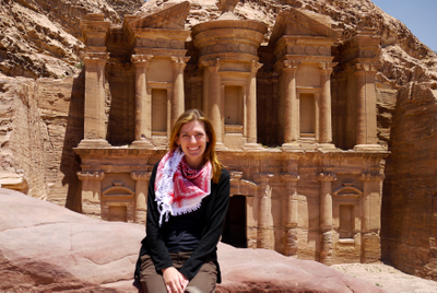travel interview- Shannon at The Monastery in Petra, Jordan