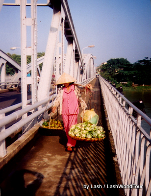 local crossing Long Bien Bridge- Hanoi