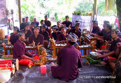 gamelan orchestra at a funeral in central Bali