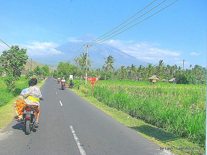 Cycling to Mt Agung at Amed