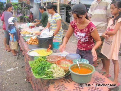 Balinese foods on sale at small local evening market