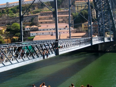 The youth of Porto, Portugal jumping into the River Duoro copy
