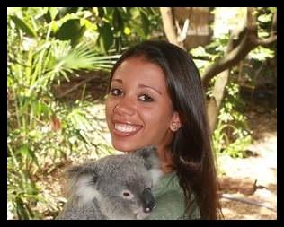Jasmine Stephenson holding a koala in Brisbane, Australia