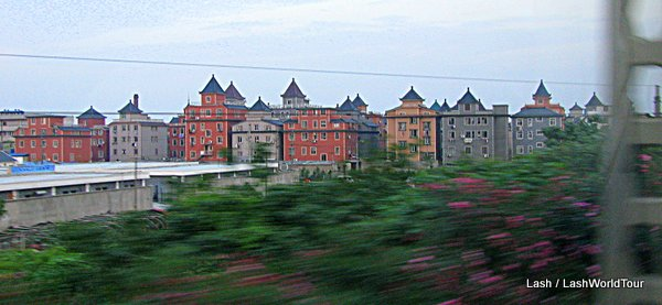 cluster of turret-topped houses in China