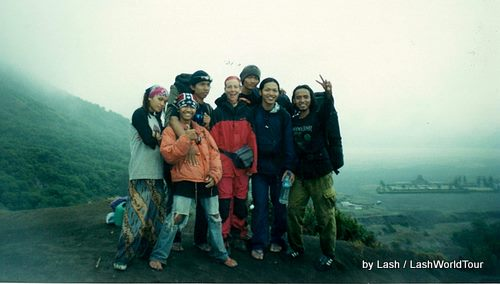 Lash trekking with Javanese students at Mt. Bromo