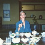 Lash enjoying fine Japanese cuisine at a Ryokan- luxury Japanese Inn