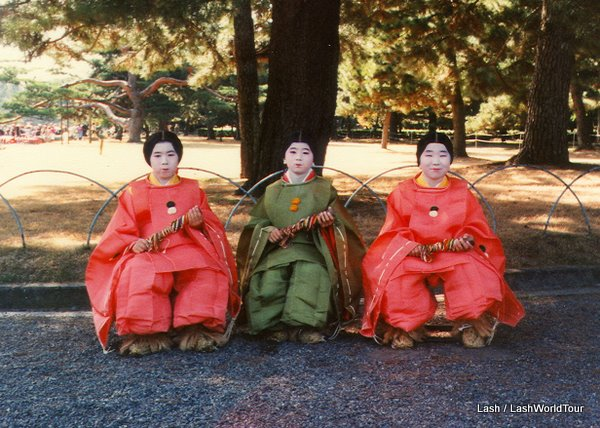 girls dressed for  Kyoto's  Festival of Ages-Jidai Matsuri