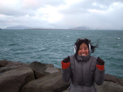Connie Hum freezing in Iceland, 2007