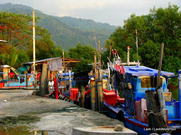 Fishing boats in remote village- west coast Penang