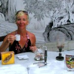 Lash drinking Luwak coffee in Penang