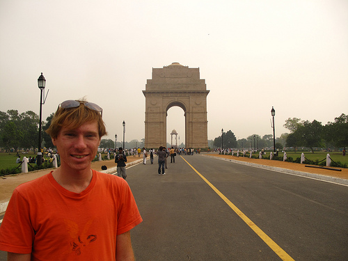 travel interview- Adam Groffman at Delhi Gate- India