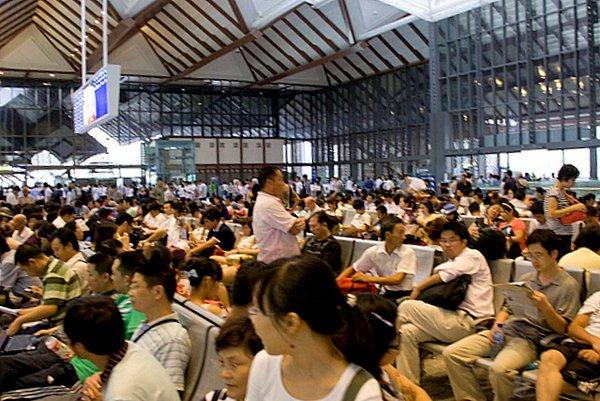 crowded train station -China