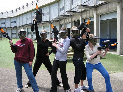 summer in Manchester- paintball chicks