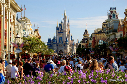 vacationing in Orlando- Disney World - Magic Kingdom theme park- Orlando- FL- USA