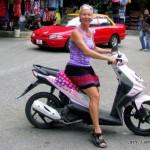 Lash on motorbike