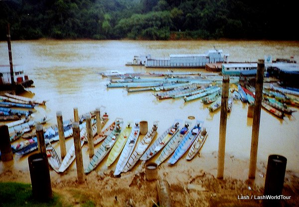 traditional boats on Rajang River in Sarawak - Borneo