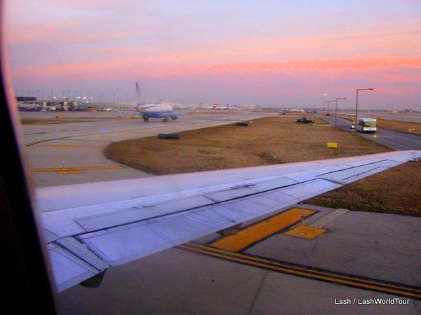 flight take off - sunset