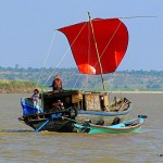 red sail boat - Ayerarwady River - Myanmar