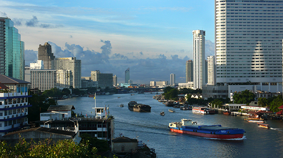 Chao Phraya River flows through Bangkok - photo by Brad Augsburger