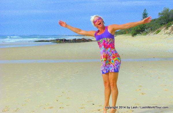 LashWorldTour dancing on Yaroonda Beach - Sunshine Coast