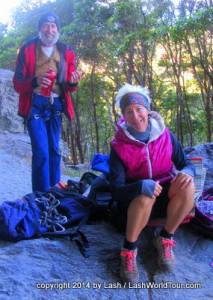 LashWorldTour hanging out with rock climbing pals at Mt Coolum