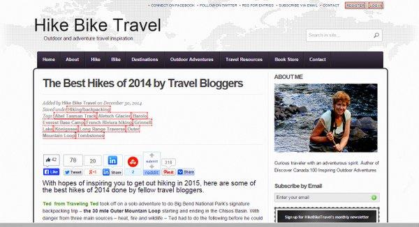 screenshot of Best Hikes 2014 on HIkeBikeTravel