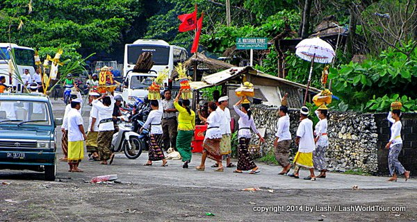 Balinese ceremony on the road in Bali