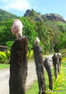 charming road side posts on photos of Ovalau Island Fiji