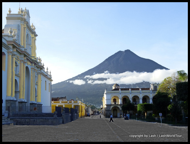 Antigua Central Plaza with Volcan Agua