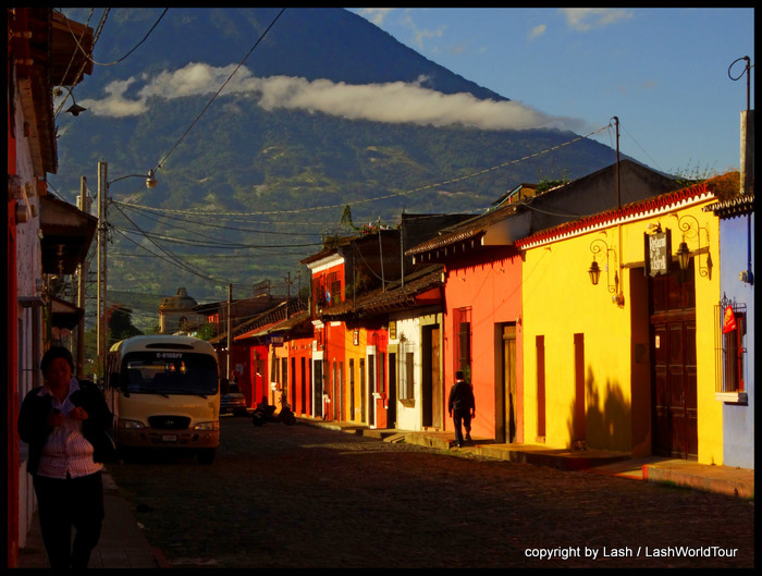 Antigua shops at sunrise with Volcan Agua