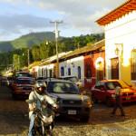 traffic on cobblestone roads of Antigua