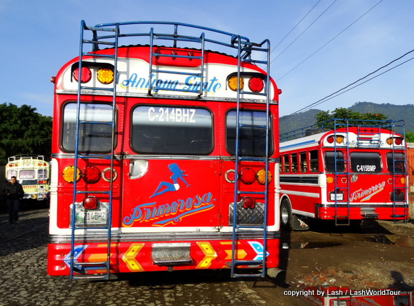 colorful public buses in Guatemala
