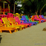 colorful beach chairs at Placencia - Belize