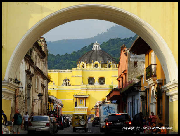 El Merced Cathedral viewed from Antigua's distinctive arch