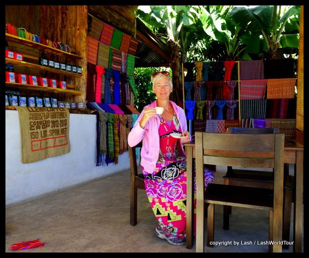 LashWorldTour sipping espresso in San Juan - Guatemala