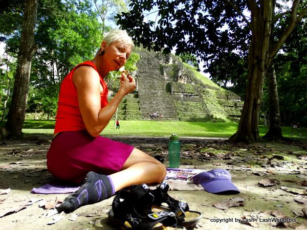 picnic at Tikal Mayan ruins - Guatemala