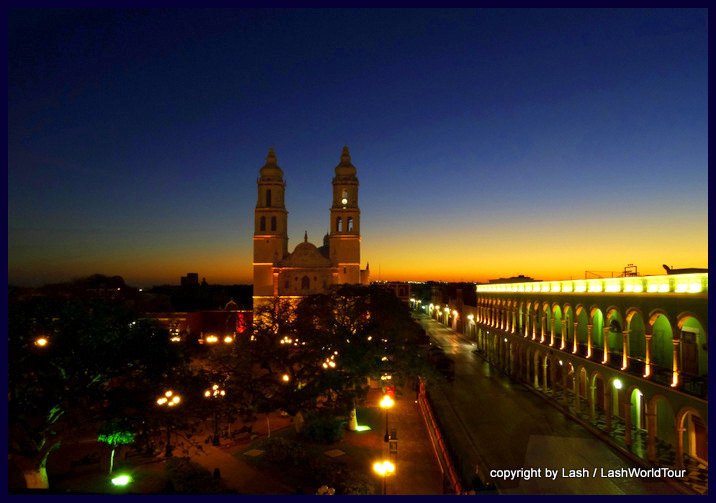 Campeche Main Plaza at sunrise - Mexico