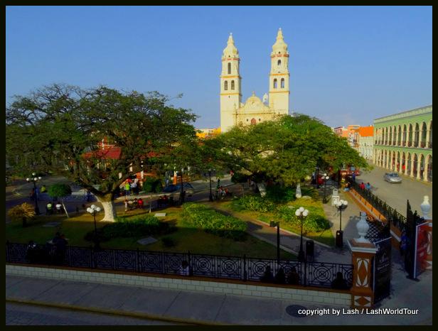 Campeche cathedral & plaza - Mexico - Yucatan